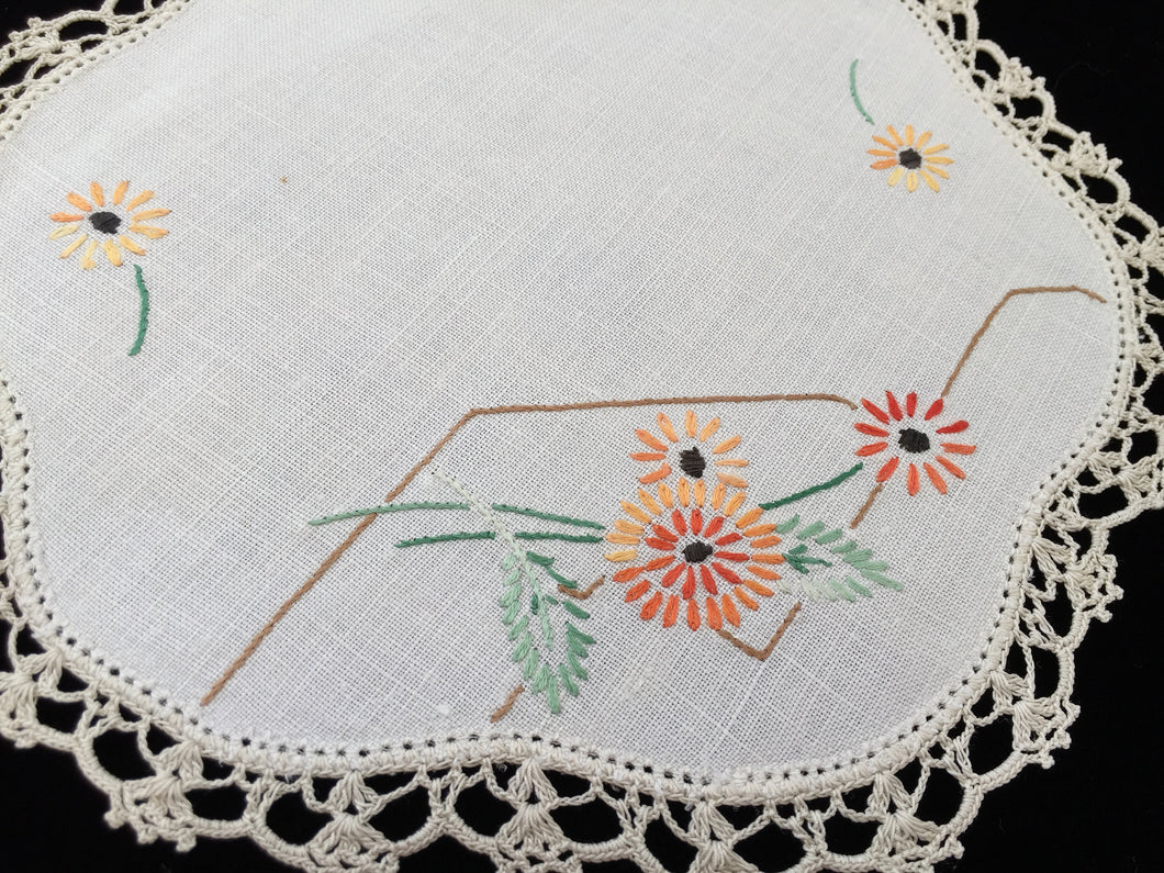 Vintage Hand Embroidered Off-white Linen Doily with Beige Crocheted Lace Edge