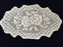 Load image into Gallery viewer, Large Bright Yellow Oval Filet Crochet Doily or Table Runner with Roses