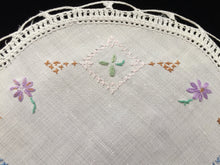 Load image into Gallery viewer, Vintage Cross Stitch Embroidered White Linen Doily with Crocheted Edge