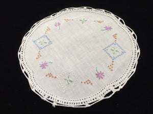 Vintage Cross Stitch Embroidered White Linen Doily with Crocheted Edge