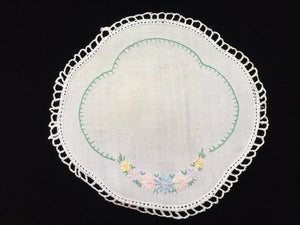 Vintage Hand Embroidered White Linen Doily with Crocheted Edge