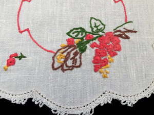 1930-1950s Australian Vintage Hand Embroidered Doily with White Crocheted Edge