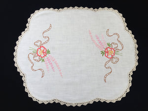 Large Vintage Embroidered Linen Doily, Tray Cloth or Place Mat/Table Centre Mat with Flower Bouquets and Ecru Crocheted Edge