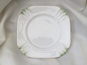 Royal Albert White, Green and Gold Square Porcelain Side Plate