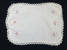 Load image into Gallery viewer, Large Australian Vintage Embroidered Linen Doily, Tray Cloth or Place Mat/Table Centre Mat with Flowers and White Lace Edge