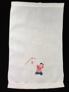 Vintage Embroidered and Appliqued Oriental Theme White Linen Tea or Guest Towel