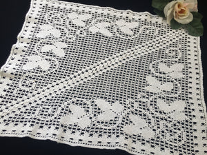 Small Art Nouveau Vintage Off-white Filet Crochet Lace Tablecloth with Grapevine Pattern