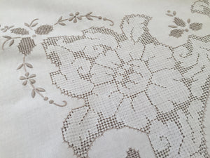 Embroidered Vintage Tablecloth in Ivory/Ecru Colour