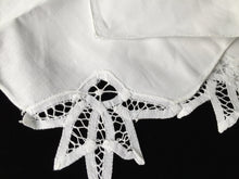 Load image into Gallery viewer, Unused Vintage Set of 4 White Cotton Linen Party Napkins with Battenburg Lace Detail