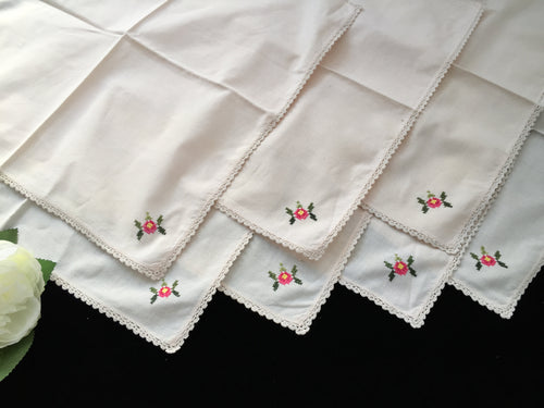 7 Hand Embroidered Ecru Cotton Linen Napkins with Cross Stitch Roses and Crochet Edging
