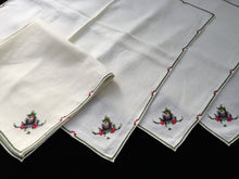Load image into Gallery viewer, 4 Vintage Hand Embroidered Pale Yellow Cotton Linen Napkins with Cross Stitch Roses
