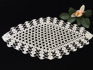 Diamond Shape Ivory Crocheted Vintage Cotton Lace Doily