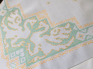 Vintage Hand Embroidered Linen Tablecloth with Cross Stitch Phoenix Pattern