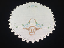 Load image into Gallery viewer, Vintage Hand Embroidered White Linen Doily with Flower Basket Pattern and a Crocheted Edging