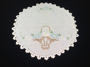 Vintage Hand Embroidered White Linen Doily with Flower Basket Pattern and a Crocheted Edging