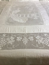 "Load image into Gallery viewer, Vintage Lace and Linen Bed Cover with Mary Card Designed Filet Crochet Inlay ""Peacock and Grapevine"""