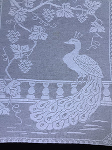"Antique White Lace Panels for Making the Mary Card Designed ""Peacock and Grapevine"" Bed Cover Chart No. 3"