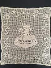 Load image into Gallery viewer, Large Dark Ecru Filet Crochet Lace Panel or Table Runner with Crinoline Lady