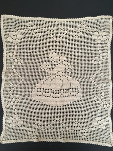 Large Dark Ecru Filet Crochet Lace Panel or Table Runner with Crinoline Lady