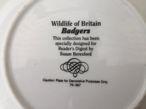 "Wildlife of Britain Decorative Plate ""Otters"" Designed by Susan Beresford"