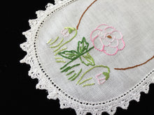 Load image into Gallery viewer, Vintage Hand Embroidered White Cotton Doily with Mauve and Pink Zinnias and Crocheted Edge