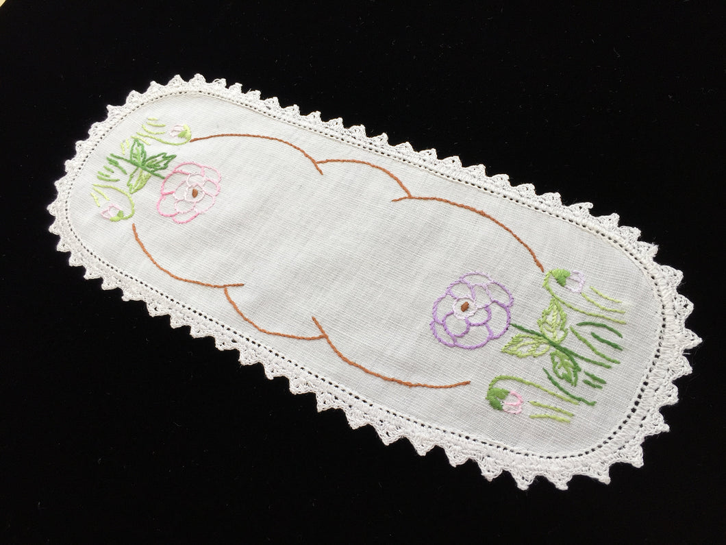 Vintage Hand Embroidered White Cotton Doily with Mauve and Pink Zinnias and Crocheted Edge