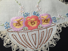 Load image into Gallery viewer, Large Embroidered Off-white Linen Doily with Flower Basket Pattern and Ivory Crocheted Edge