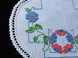 1930/40s Australian Vintage Hand Embroidered Linen Doily with Red and Blue Flowers and a White Crochet Lace Edging