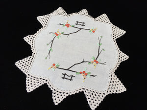 Vintage Hand Embroidered Off-white Doily with an Ivory Crocheted Lace Edging