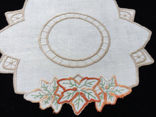 Load image into Gallery viewer, Vintage Hand Embroidered Off-white Linen Irregular Shaped Doily with Grape Leaves