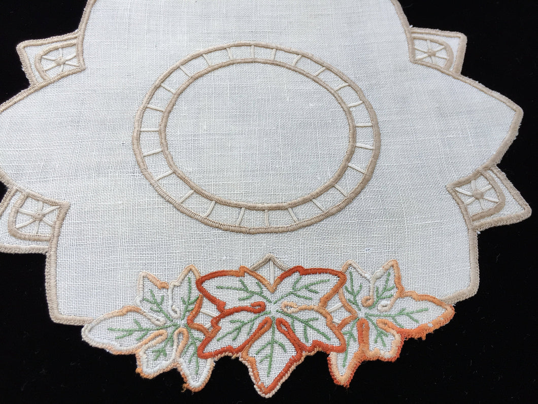 Vintage Hand Embroidered Off-white Linen Irregular Shaped Doily with Grape Leaves