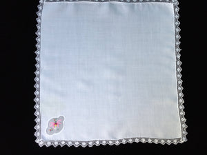 Vintage Embroidered Lace Edged Fine Cotton Linen and Muslin/Gauze Napkin or Handkerchief
