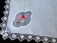 Load image into Gallery viewer, Vintage Embroidered Lace Edged Fine Cotton Linen and Muslin/Gauze Napkin or Handkerchief