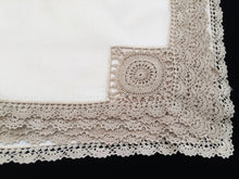 Load image into Gallery viewer, A Set of 3 Vintage Cotton Linen Napkins with Ecru Crochet Lace Corners and Edging