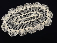 Load image into Gallery viewer, Large Oval Yellow Vintage Crocheted Cotton Lace Doily