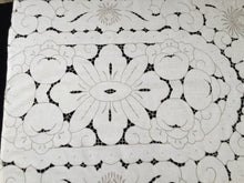 Load image into Gallery viewer, Embroidered Ivory/Ecru Cotton Linen Vintage Cutwork Tablecloth with Chrysanthemums