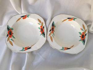 Pair of Alfred Meakin Compote or Dessert Bowls with Poppies and Wheat Ears