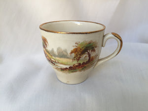 Vintage Espresso Cup without Saucer with Rural England Pattern