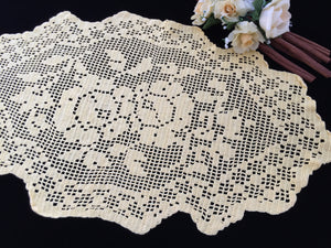 Large Bright Yellow Oval Filet Crochet Doily or Table Runner with Roses