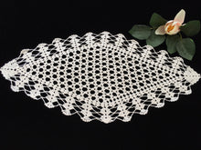 Load image into Gallery viewer, Diamond Shape Ivory Crocheted Vintage Cotton Lace Doily