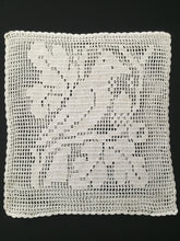 Load image into Gallery viewer, Sham Filet Crochet Lace Cushion Cover with Bird and Oak Tree Pattern