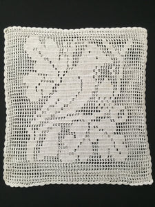 Sham Filet Crochet Lace Cushion Cover with Bird and Oak Tree Pattern