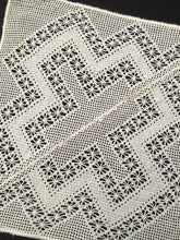 Load image into Gallery viewer, Antique Remodeled White Filet Crochet Doily with Spider Pattern