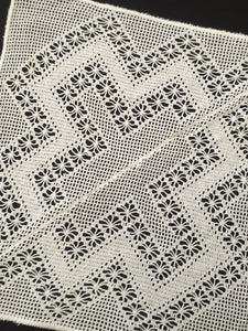 Antique Remodeled White Filet Crochet Doily with Spider Pattern
