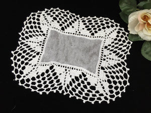 Vintage Oblong Tulle Doily with Crocheted Lace Border