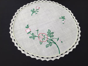 Vintage Embroidered SEMCO Linen Doily/Table Centre Mat with Roses and a Cotton Lace Edge