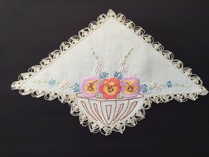 Large Embroidered Off-white Linen Doily with Flower Basket Pattern and Ivory Crocheted Edge