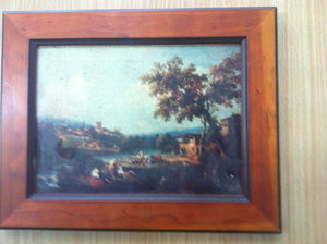 "Zuccarelli Print. Small Version of ""An Extensive River Landscape"" on Wooden Board, in Rustic Wooden Frame by Art London Company"