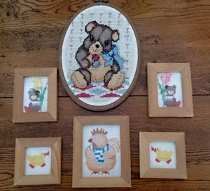 Set of 6 Nursery Cross Stitch Pictures Small Hand Embroidered Pictures in Wooden Frames
