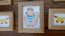 Load image into Gallery viewer, Set of 6 Nursery Cross Stitch Pictures Small Hand Embroidered Pictures in Wooden Frames